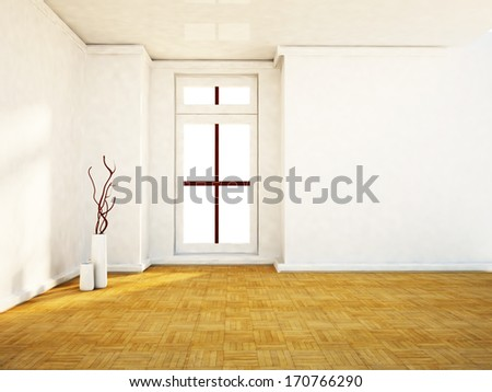 empty room with  the window and the vases - stock photo
