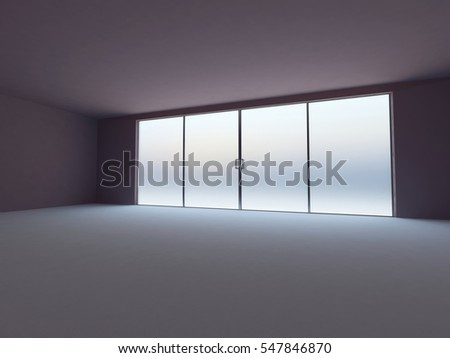 empty room with the windows, 3d rendering