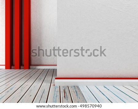 empty room with three red panels. 3d rendering