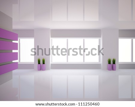 empty room with violet wall and vases with grass - stock photo