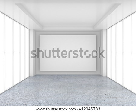 Empty room with white billboard and glossy concrete floor. 3d rendering
