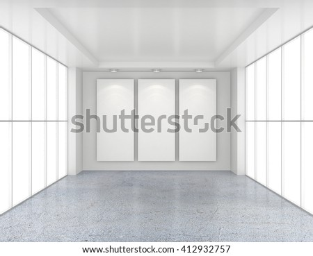 Empty room with white billboards and glossy concrete floor