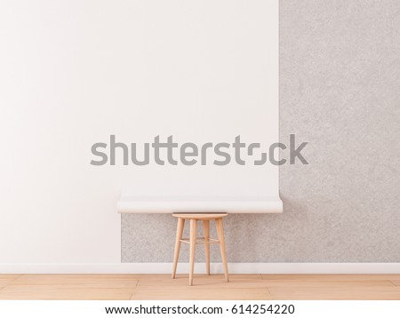Empty Room With White Blank Roll Of Wallpaper Mockup Lies On A Chair 3d Rendering