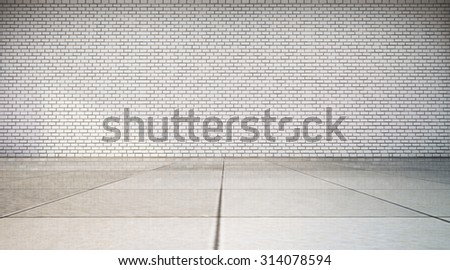 empty room with white brick wall and tile floor