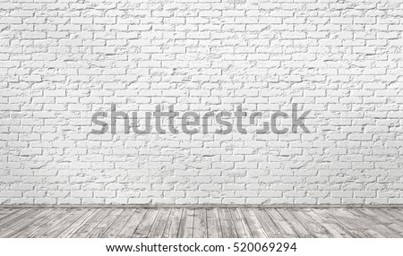 Empty room with white brick wall and wooden floor. 3d illustration