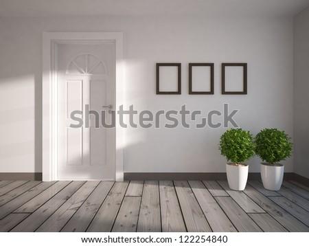 empty room with white door - stock photo