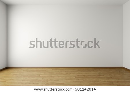 Empty room with white walls, brown hardwood parquet floor and soft skylight from window, simple minimalist interior architecture background with copy-space, 3d illustration