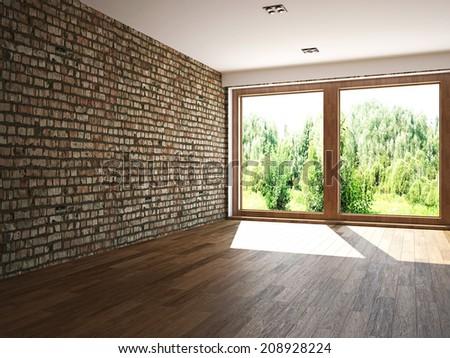 Empty room with window - stock photo