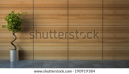 Empty room with wood wall 3D - stock photo
