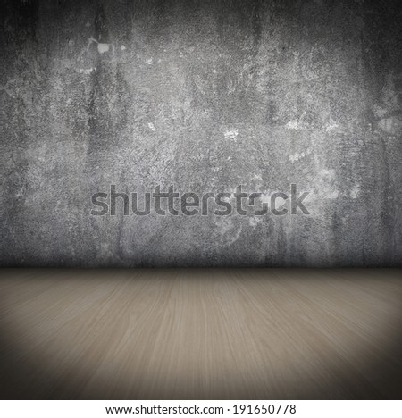 Empty Room With wooden Floor and concrete Wall grunge Interior