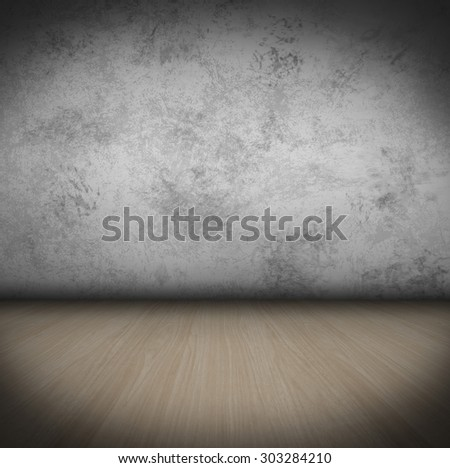 Empty Room With wooden Floor and old colored Wall grungy Interior