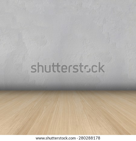 Empty Room With wooden Floor and plastered wall grungy Interior - stock photo