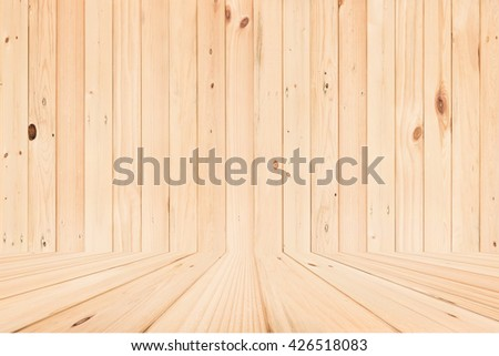 Empty room with wooden wall and wooden floor.