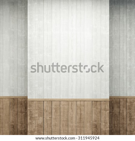 empty room with wooden walls - stock photo