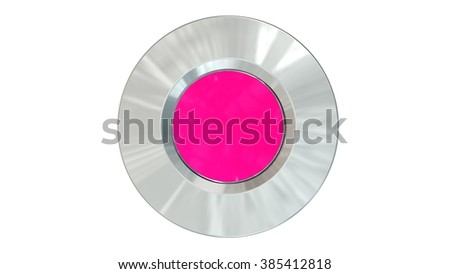 empty round button pink - isolated in white
