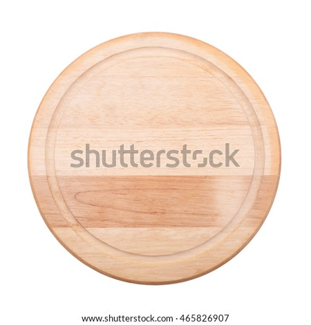 empty round cutting board on white background