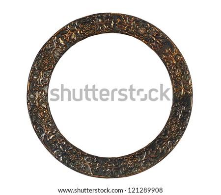 empty round frame on white background - stock photo