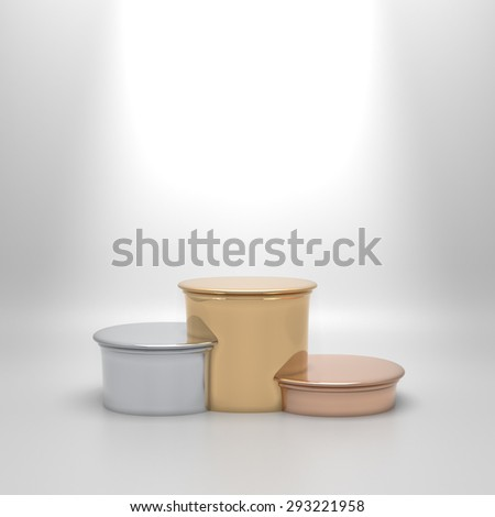 Empty round podium. Stairs in golden, silver and bronze color. Blank template with space for an object, person, logo, text. Ranking, championship, achievement in sport, business, education concept. - stock photo