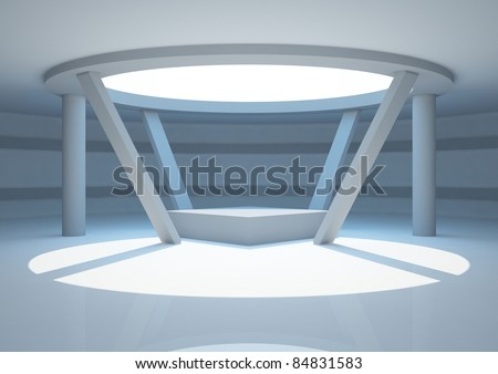empty round room with columns and podium, interior showroom - 3d illustration - stock photo