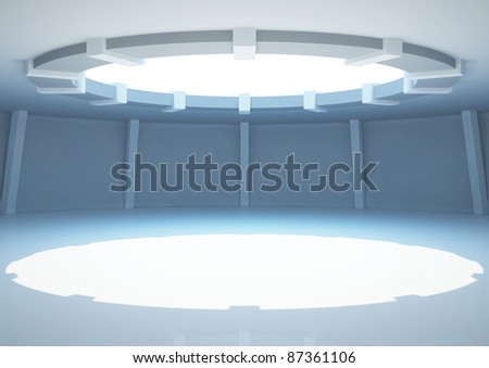 empty round room with columns, interior showroom - 3d illustration - stock photo