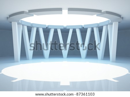 empty round room with futuristic columns, interior showroom - 3d illustration
