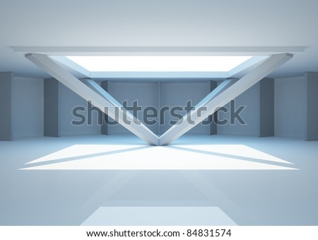 empty round room with futuristic construction and partitions, interior showroom - 3d illustration - stock photo