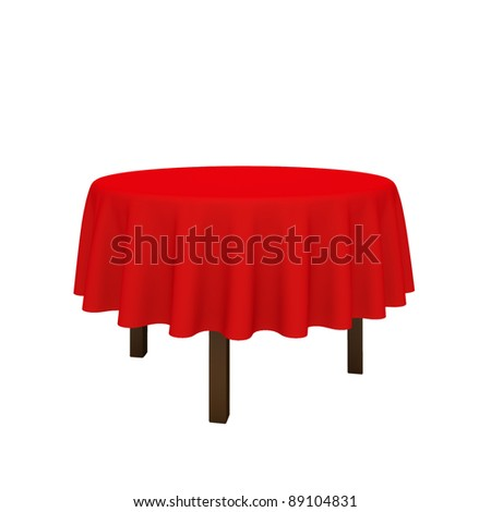 Empty Round Table And Red Cloth. Isolated On A White Background