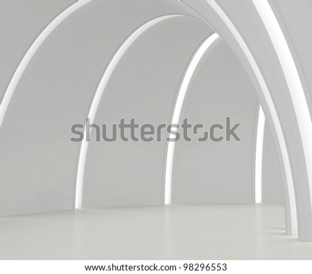 Empty round white hall with light strips