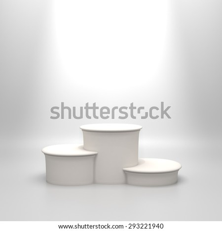 Empty round white podium. Blank template illustration with space for an object, person, logo, text. Ranking, championship, contest or ceremony concept. Achievement in sport, business, education.