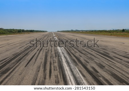 Empty runway at the airport - stock photo