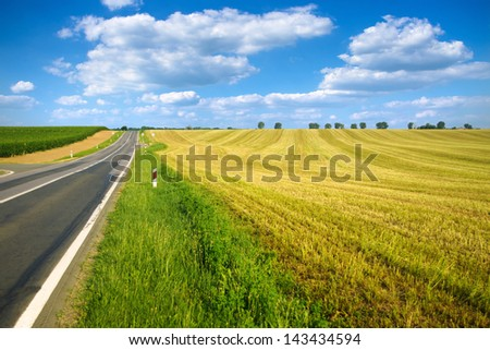 Empty rural road by the vineyard and harvested barley field in the summer - stock photo