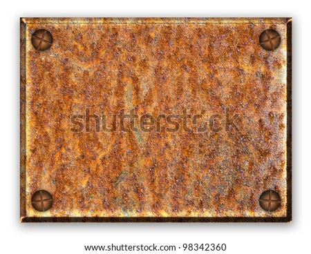 empty rusty metal plate on white
