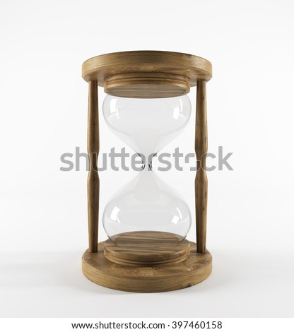 Empty sand glass in wooden carcass. Concept of no money. 3D rendering