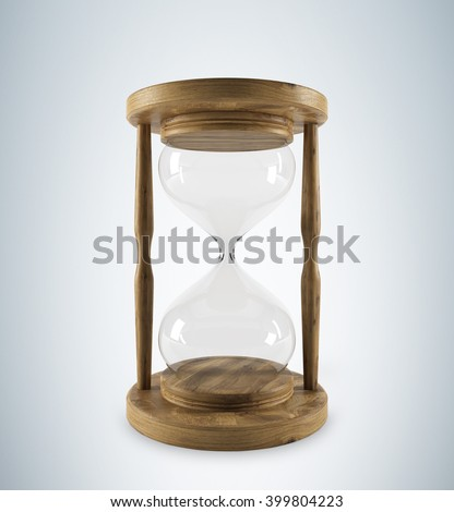 Empty sand glass in wooden carcass. Grey background. Concept of no money. 3D rendering