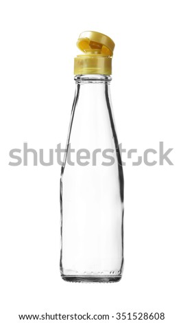 Empty Sauce Glass Bottle Pop-up Cap isolated on white background - stock photo