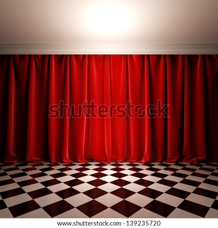 Empty scene with red velvet curtain. A 3d illustration of stage in victorian style. - stock photo