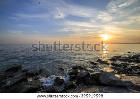 Empty sea and rocks During the sunset for design