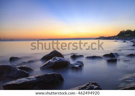Empty sea and rocks During the sunset with Silky Sea because of the long exposure via ND Filter image for design