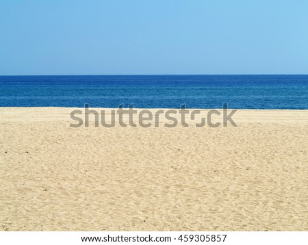 Empty sea and sand beach background on Costa Brava, Spain