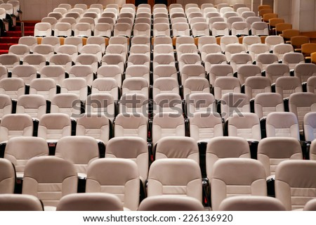 empty seat in conference meeting hall  - stock photo