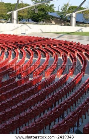 Empty seats at a stadium - stock photo