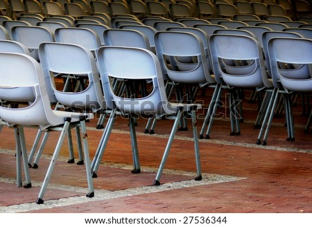 Empty seats at an open air theater - stock photo