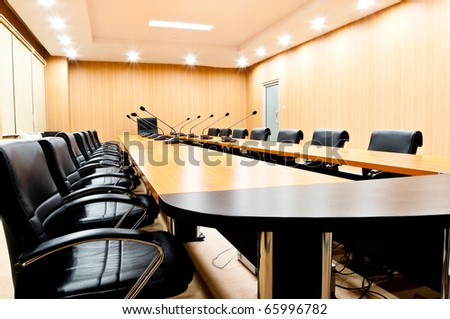 empty seats in boardroom - stock photo