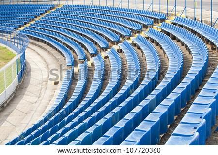empty seats on the stadium corner - stock photo