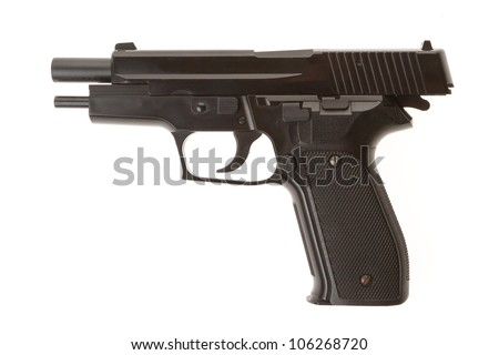 Empty semi-automatic gun isolated on white background