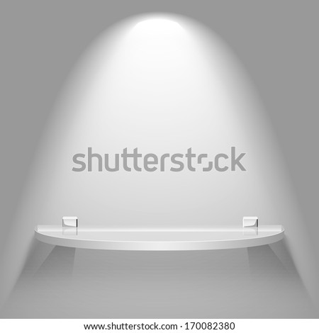 Empty semicircular glass shelf under bright soft lighting hanging on a wall. Raster version advertising background. - stock photo