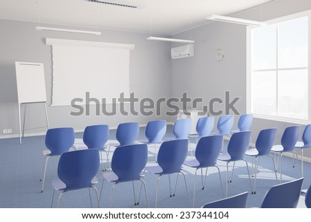 Empty seminar room with chairs and whiteboard for a presentation (3D Rendering) - stock photo