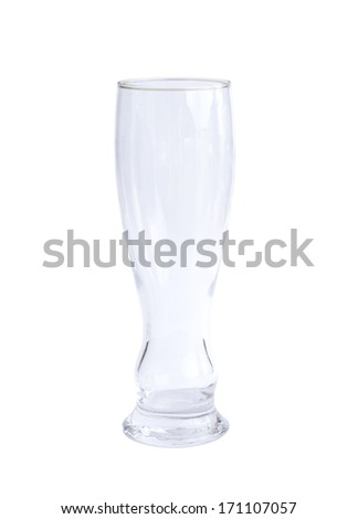 empty shaped beer glass isolated on white background