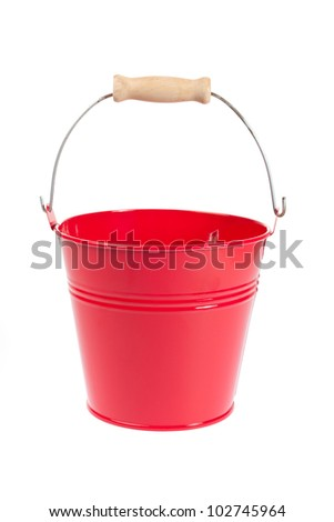 Empty sheet metal pail in front of white background - stock photo