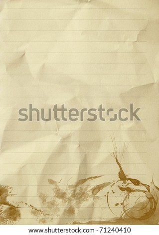 empty sheet of line crumpled paper with coffee stained - stock photo